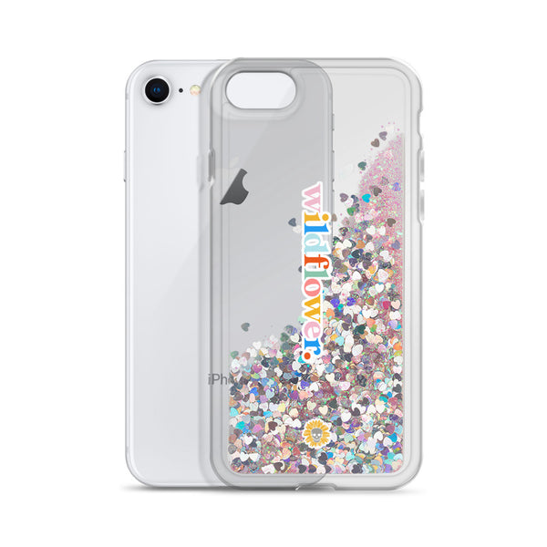 Wildflower Liquid Glitter iPhone Case