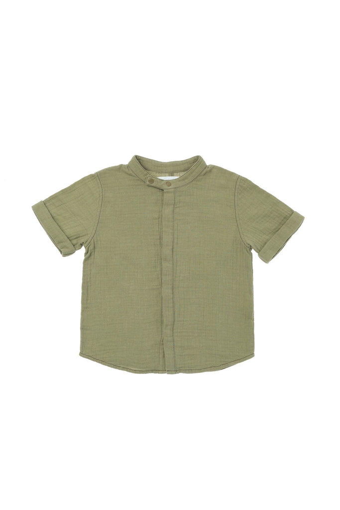 Boys' Button Down Gauze Shirt - Olive | OM429 - OMAMImini