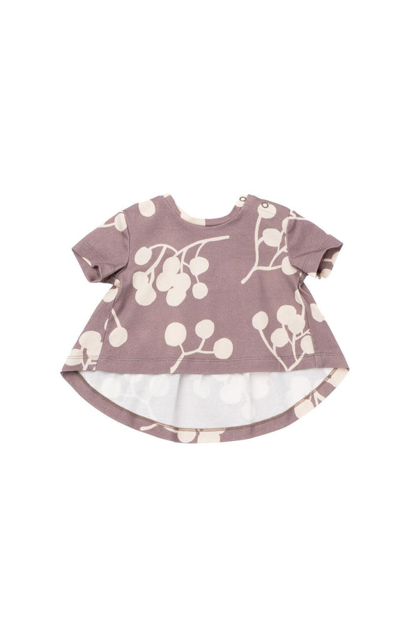 Baby T-Shirt with Ruffled Back - Stone Berries | OM441