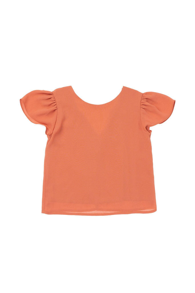 Girls' Top with Back Rufflss - Brick | OM415A - OMAMImini