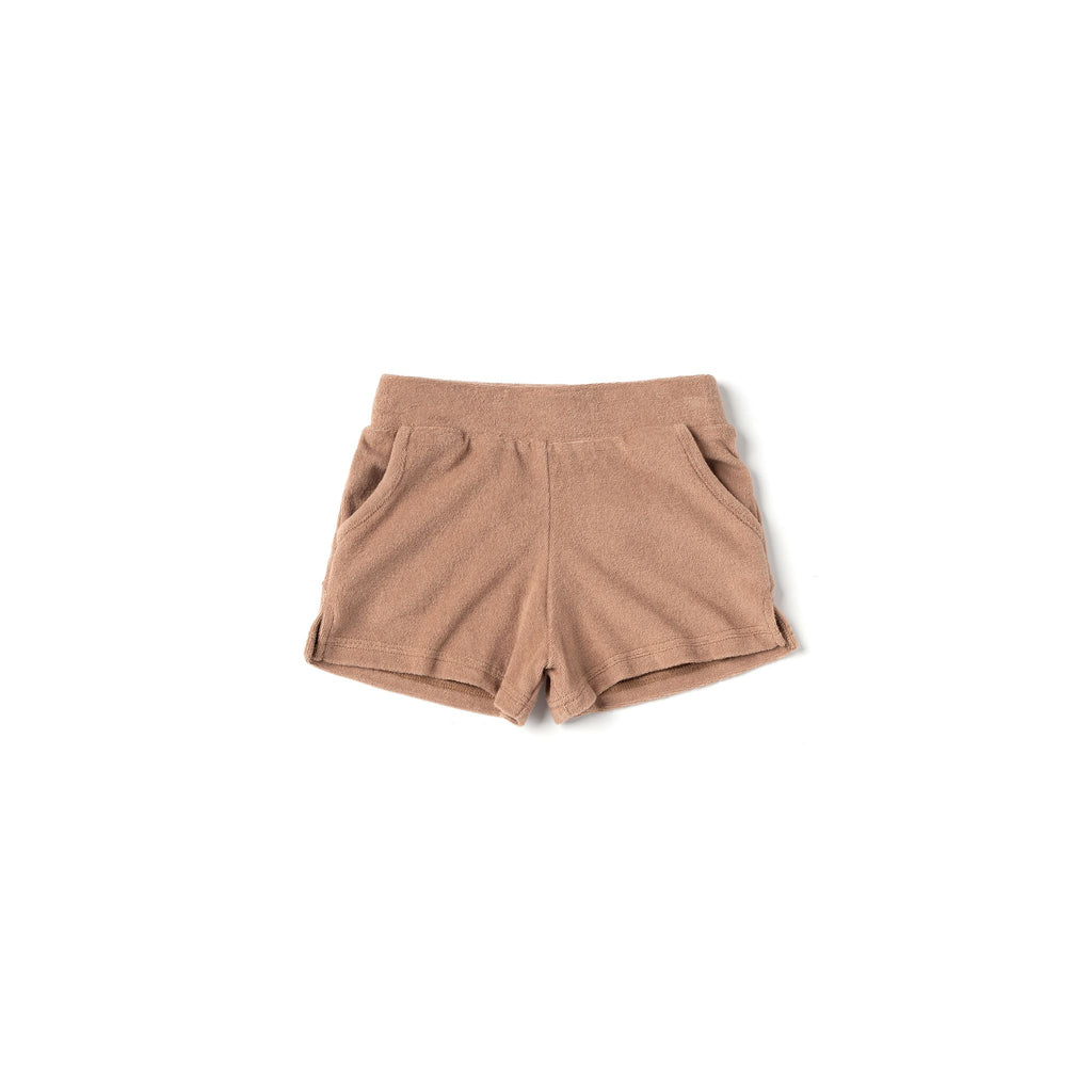 Kids Running Shorts in Terry | Mocha OM498