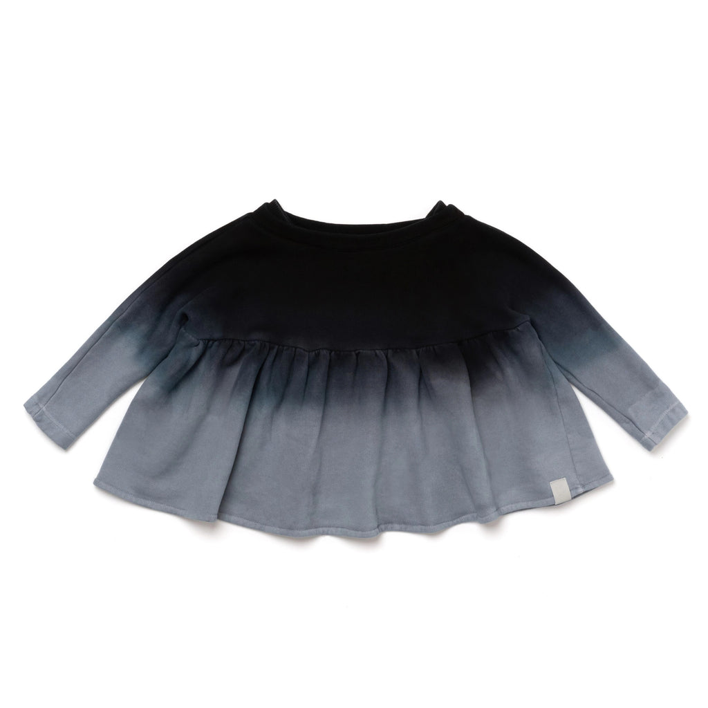 Girls Terry Tunic with Boat Neck and Ruffle | Black Ombre | OM392