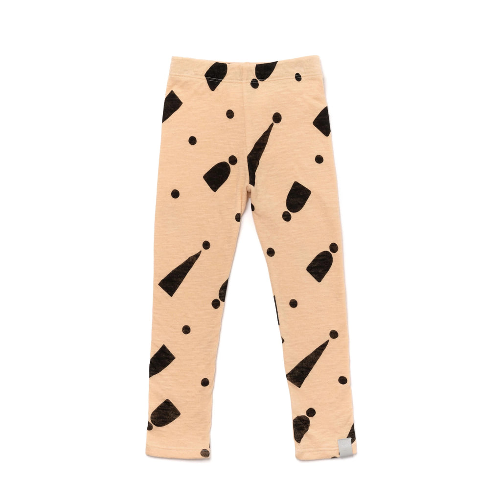 Kids Two-ply Jersey Leggings with Print | Sand with Hats | OM396B