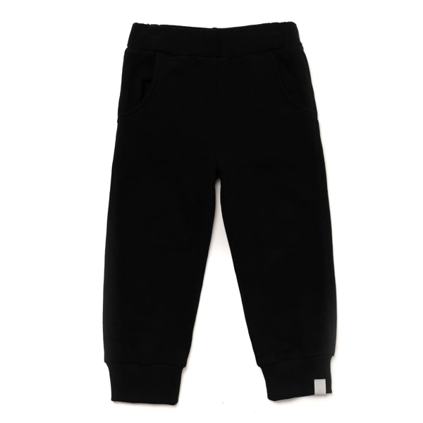 Kids Terry Joggers with Back Pockets | Black | OM397