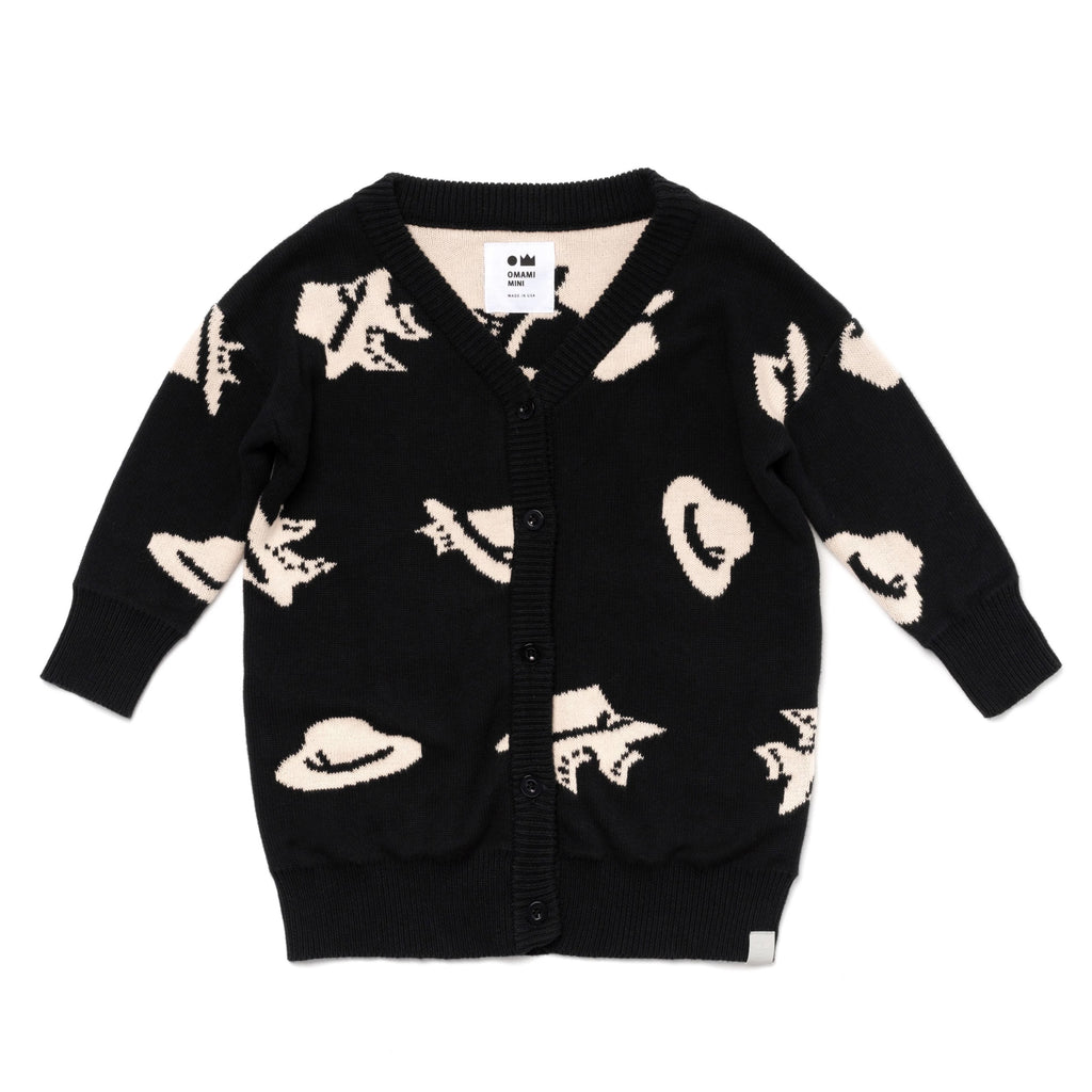 Kids Grandpa Cardigan with Cats and Hats Pattern | Black | OM401