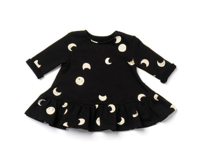 Baby Ruffle Dress with Moon Phases Print | Black OM449