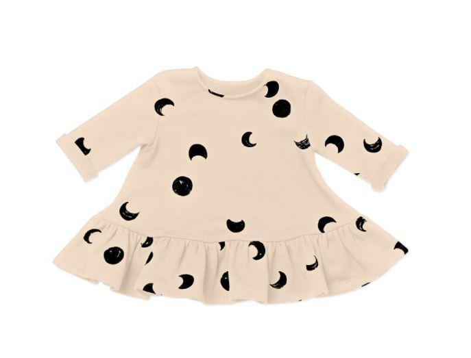 Baby Ruffle Dress with Moon Phases Print | Off-White OM449