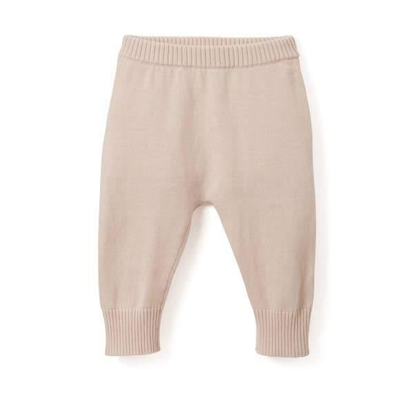 Fine Knit Cotton Baby Pant - Chalk Pink