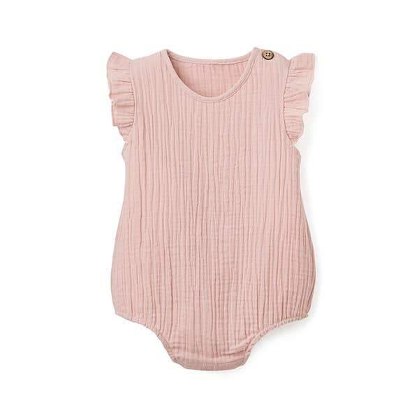 Muslin Baby Bubble Romper - Blush