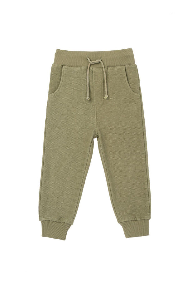 Kids' Textured Terry Sweatpants - Olive | OM430
