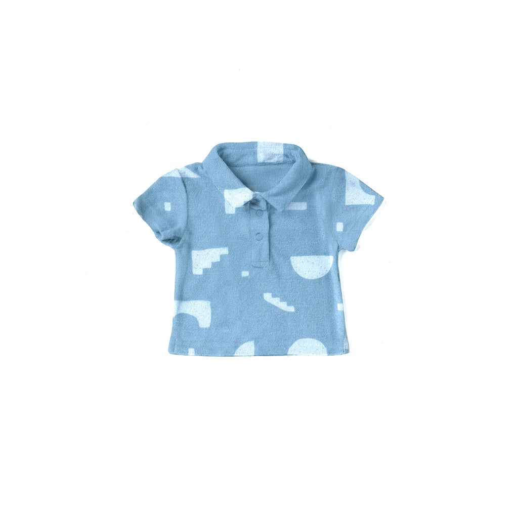 Baby Polo Shirt with Geo Print | Blue OM524A