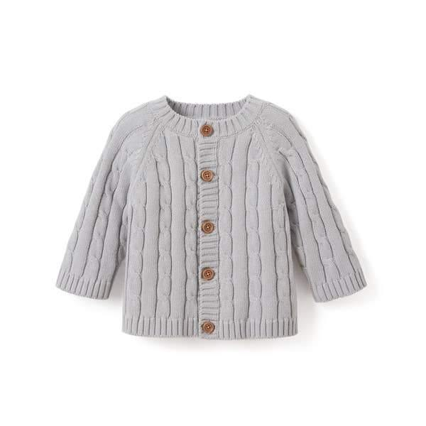 Cotton Cable Knit Baby Sweater - Gray
