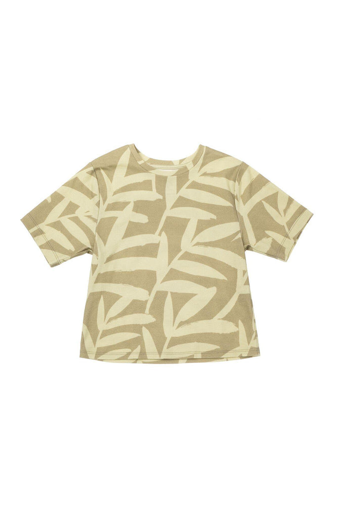 Boys' Boxy T-Shirt with All Over Palm Leaves Print - Olive Palm Leaves | OM427B - OMAMImini