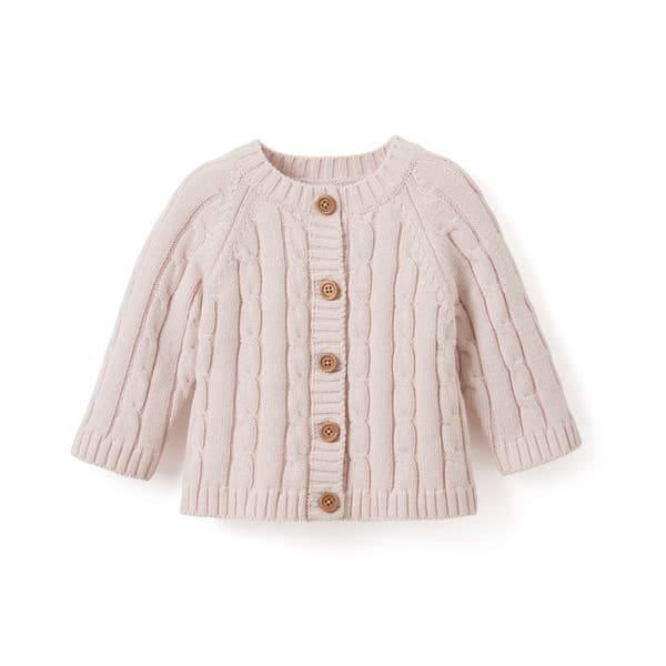 Cotton Cable Knit Baby Sweater - Chalk Pink