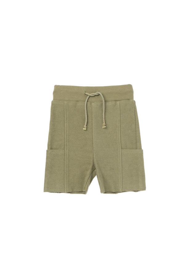 Boys' Pull-Up Shorts with Side Pockets - Olive | OM431