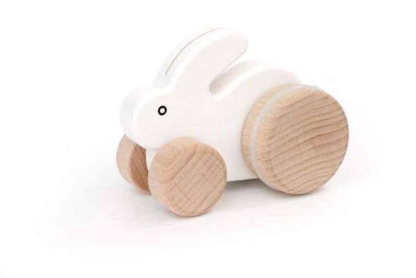 Small Hopping Rabbit Wooden Toy | White