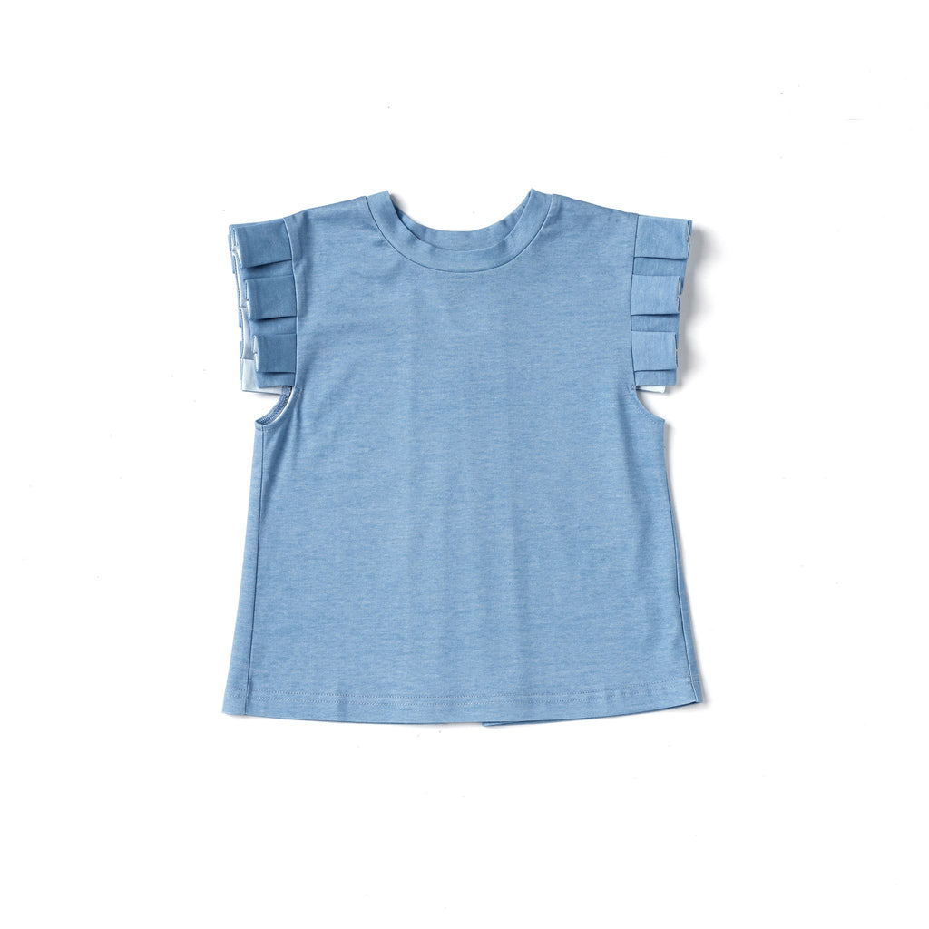 Girls Jersey Top with Knife Pleated Sleeve Ruffle | Blue OM494