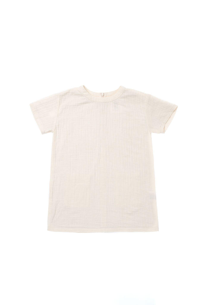 Girls' Shift Dress in Gauze - Cream | OM419