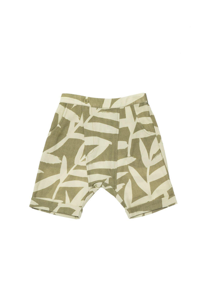 Boys' Printed Denim Shorts - Olive Palm Leaves | OM428B