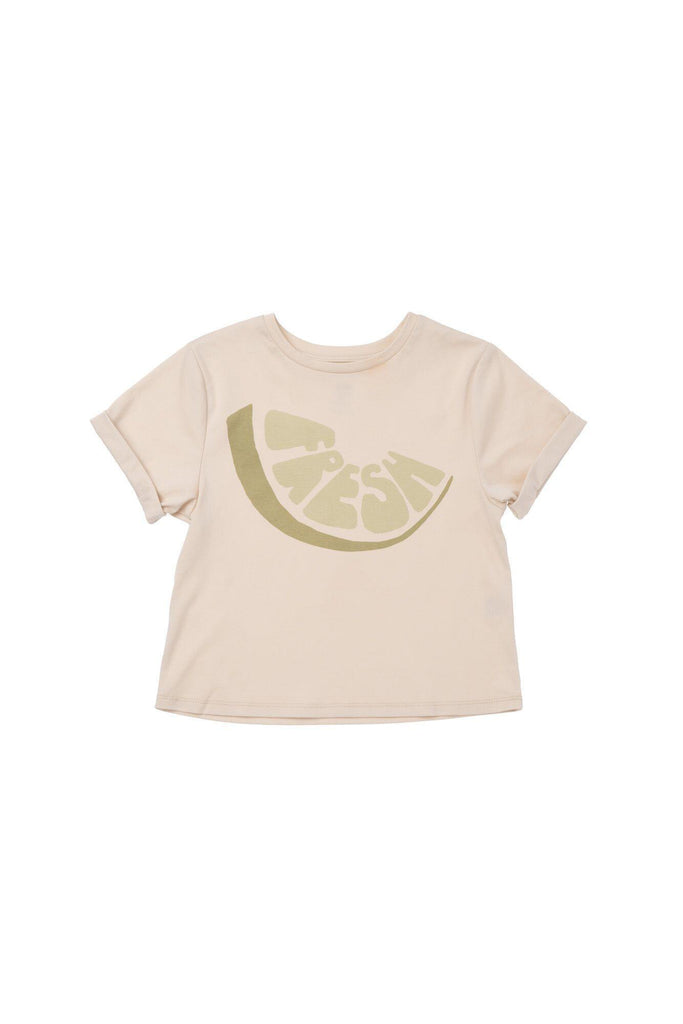 "Boys' Boxy T-Shirt with Frontal ""Fresh"" Print - Olive Fresh 