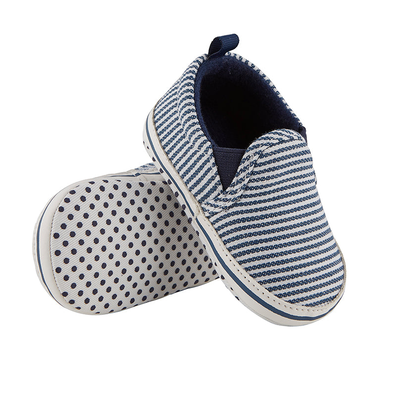 Baby Slip-on Canvas Shoe in Navy Stripe (6-12m) - OMAMImini