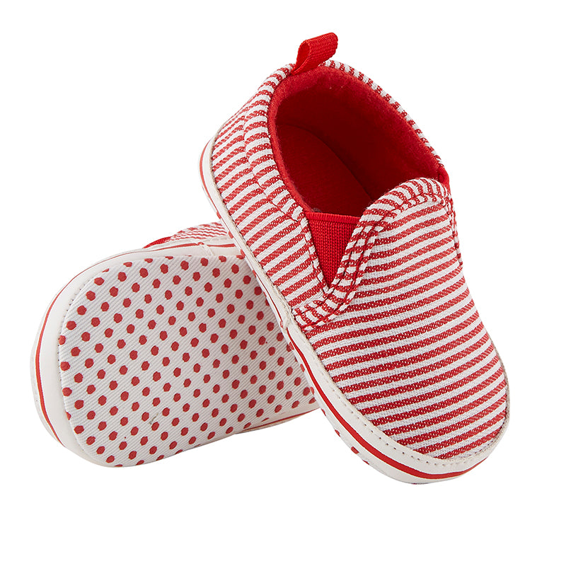 Baby Slip-on Canvas Shoe in Red Stripe (6-12m)