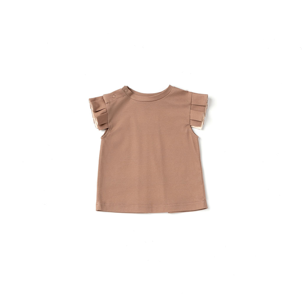 Baby Girl Jersey Top with Knife Pleated Sleeve Ruffle | Mocha OM521
