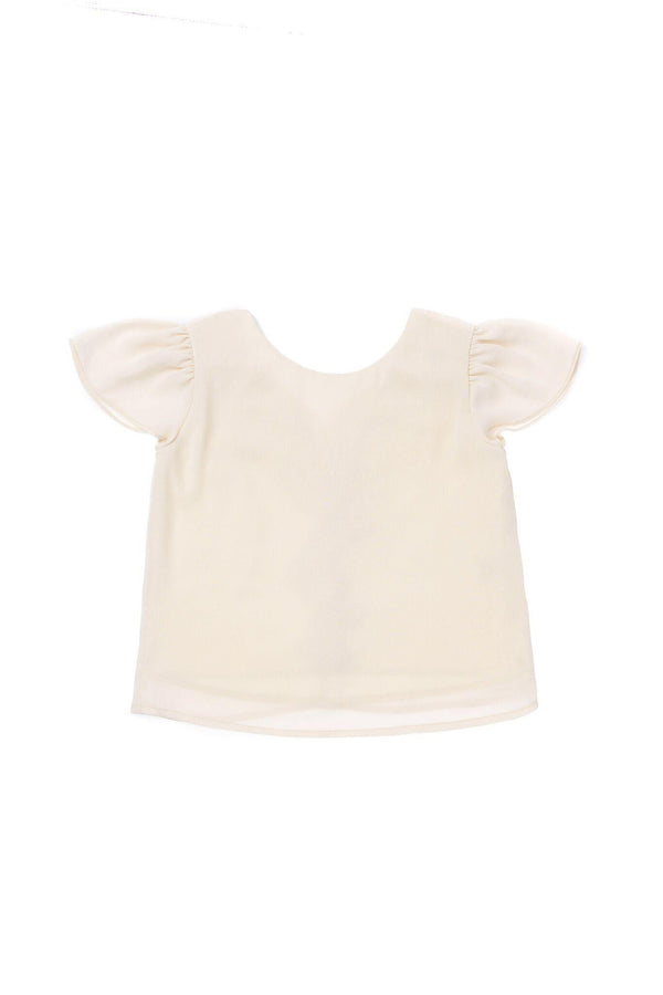 Girls' Top with Back Ruffle - Cream | OM415A
