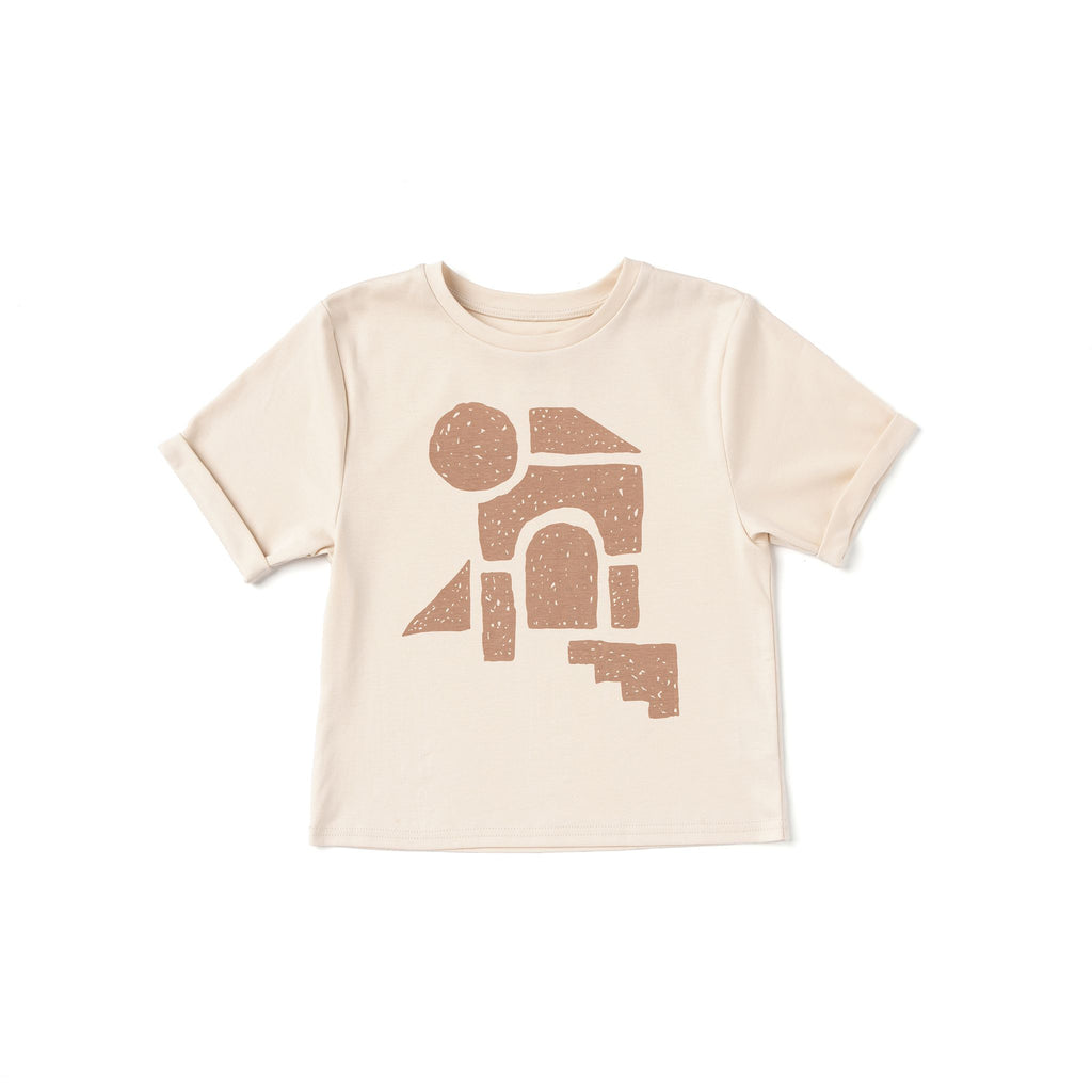 Kids Boxy T-Shirt with Geo Print | Cream OM501
