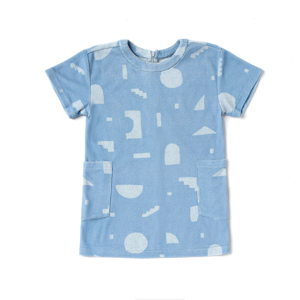 Girls Shift Terry Dress with Geo Print | Blue OM496