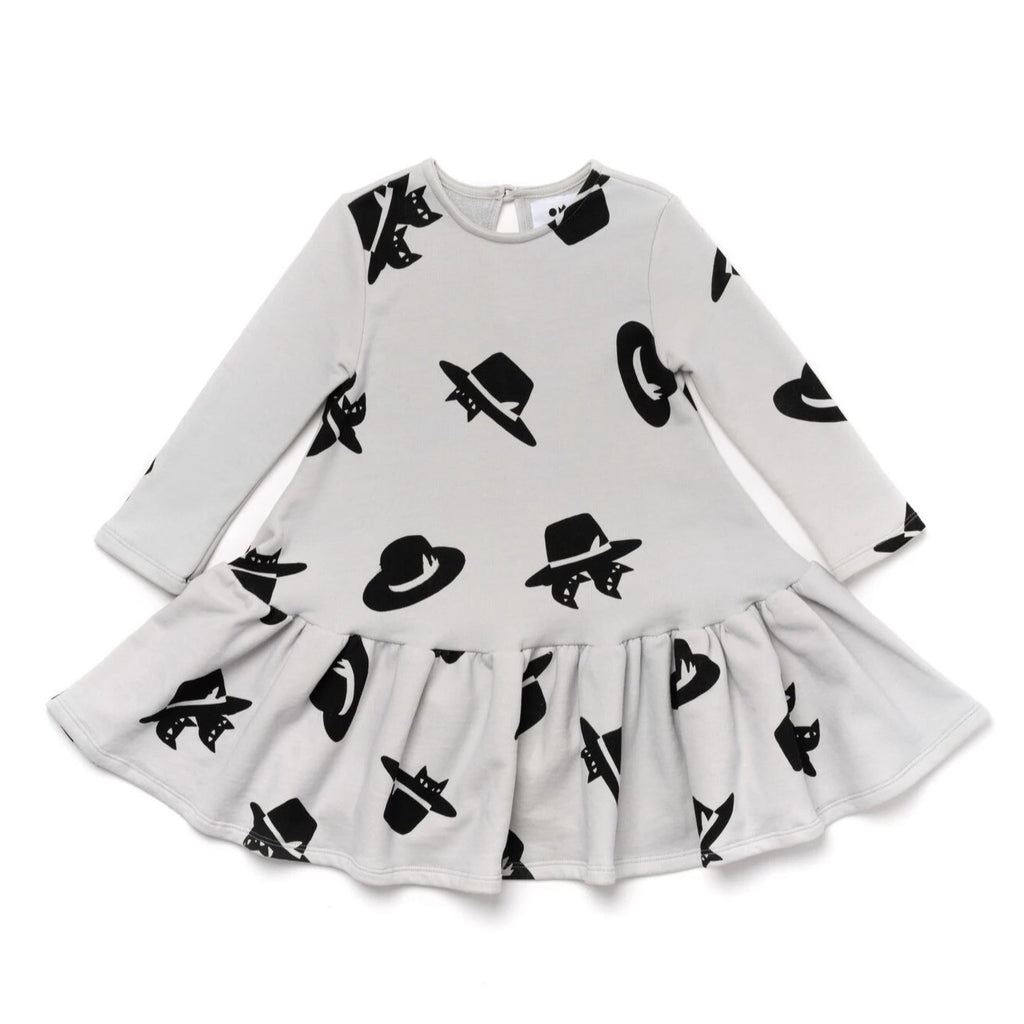 Girls Terry Ruffle Dress with Print | Cloud | OM389