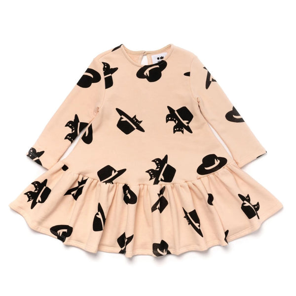 Girls Terry Ruffle Dress with Print | Light Pink | OM389