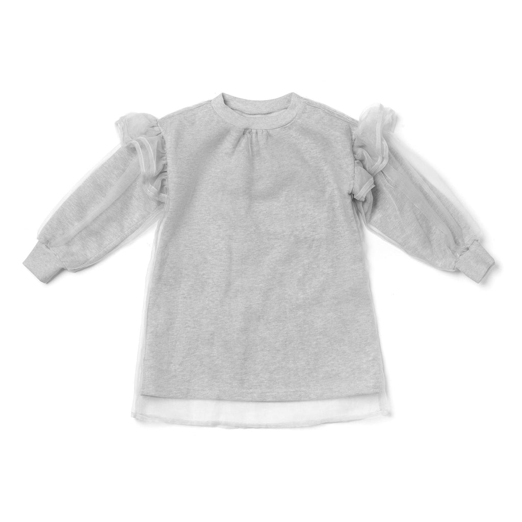 Girls Terry and Tulle Dress with Flutter Sleeve | Gray OM442 - OMAMImini
