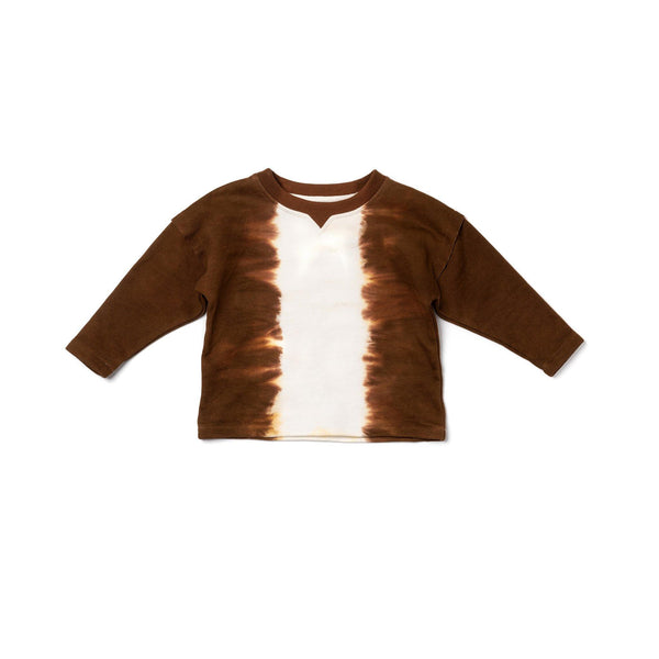 Kids Tie Dye Terry Top | Brown OM446