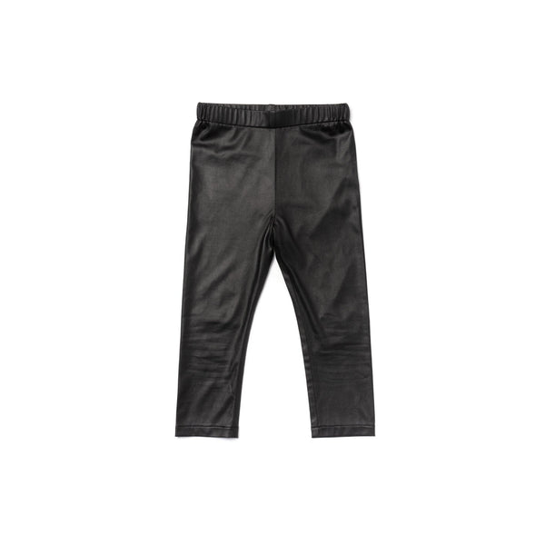 Kids Faux Leather Leggings | Black OM459