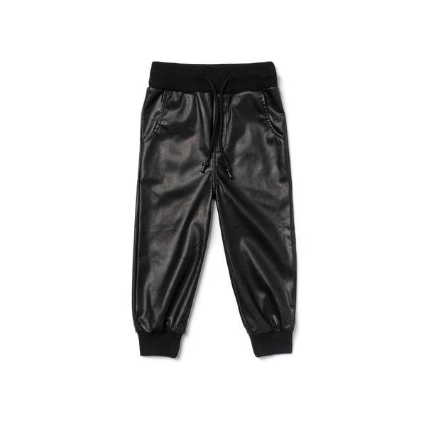 Kids Faux Leather Joggers | Black OM460