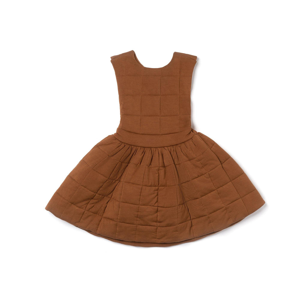 Girls Quilted Pinafore Dress | Brown OM462 - OMAMImini