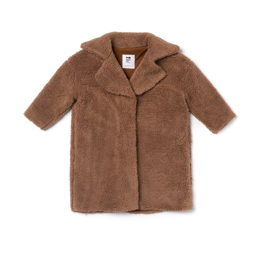 Kids Faux Sherpa Coat | Brown OM476 - OMAMImini