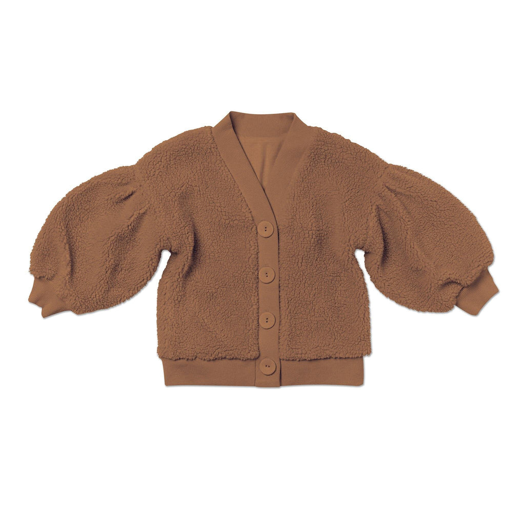 Kids Faux Sherpa Cardigan | Brown OM477 - OMAMImini
