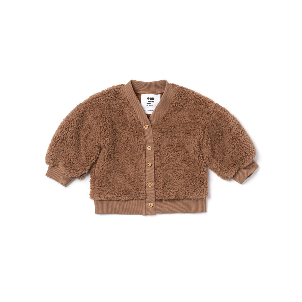Baby Faux Sherpa Cardigan | Brown OM482