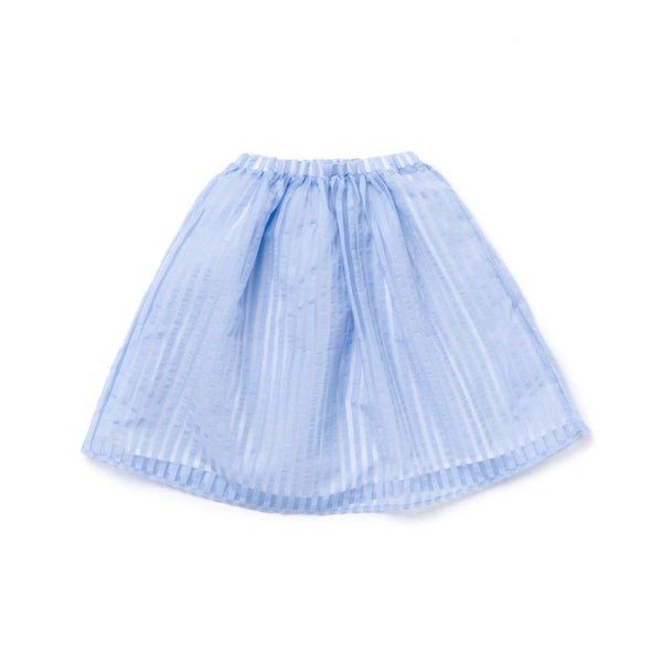 Girls 3/4 Skirt in Striped Organza| Light Blue OM346