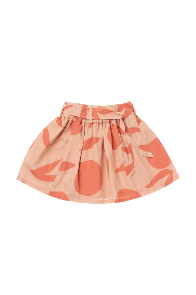 Girls' Printed Skirt with Tie Belt - Peach | OM418A - OMAMImini