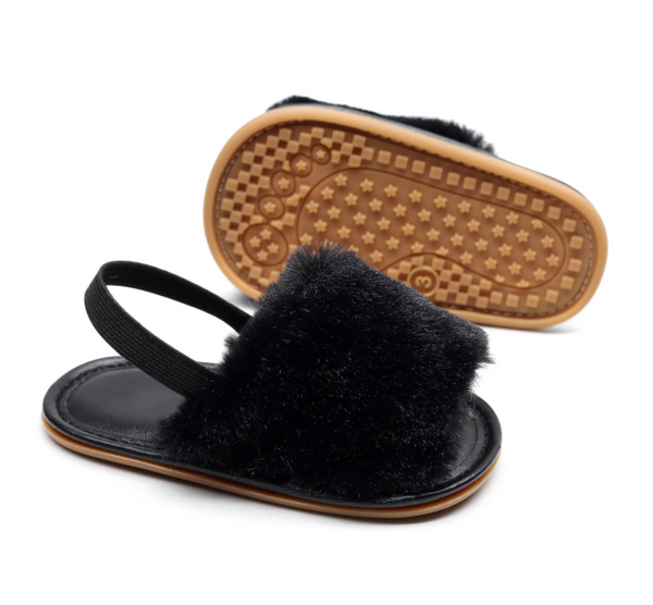 Baby + Toddler Faux Fur Slip-On Sandals | Black
