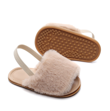 Toddler Faux Fur Slip-On Sandals | Beige