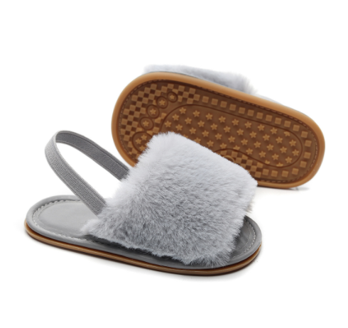 Baby + Toddler Faux Fur Slip-On Sandals | Grey