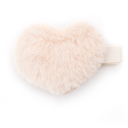 Faux Fur Heart Hair Clip | Ivory