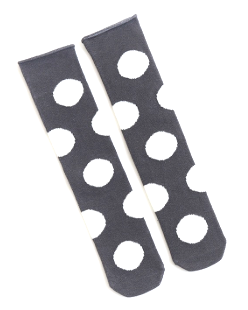 Polka-dot Knee High Socks - Charcoal