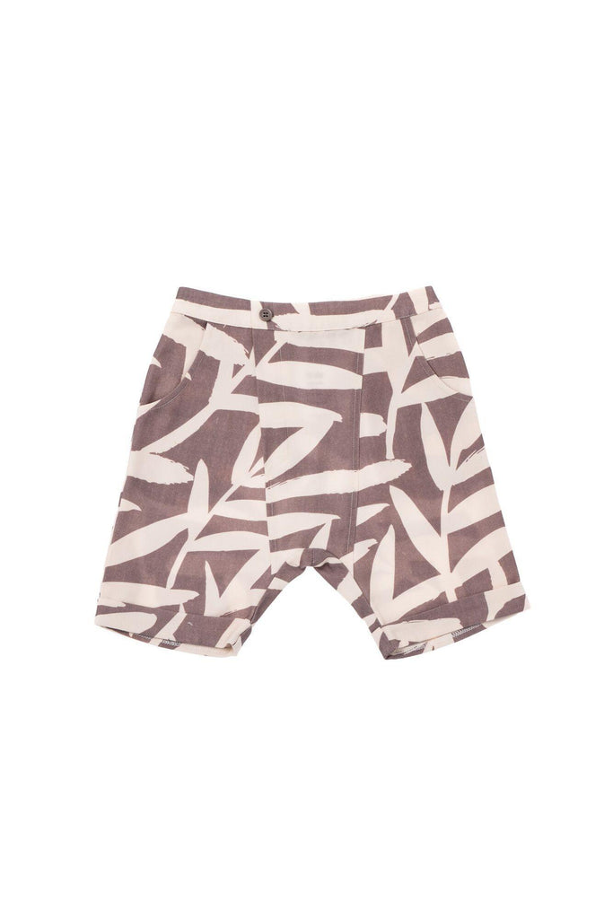 Boys' Printed Denim Shorts - Stone Palm Leaves | OM428B