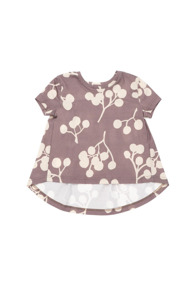 Girls' T-Shirt with Back Ruffle - Stone Berries | OM424 - OMAMImini