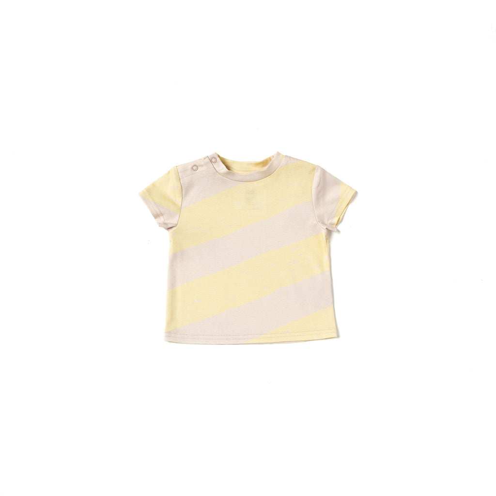 Baby Boxy T-Shirt with Stripes | Yellow OM512B
